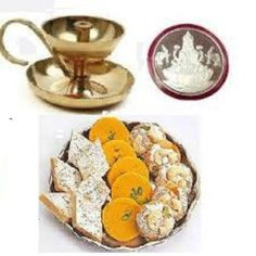 India Flower Plaza Provide Diwali Gift Assorted Mithai With Diya And Laxmi Silver Coin At Affordable Price Free Shipping