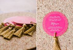 Coaster-style wedding menus with tassels! Moroccan Party, Moroccan Theme, Moroccan Wedding, Modern Moroccan, Indian Party, Wedding Menu, Wedding Stationary, Wedding Shoot, Wedding Invitations