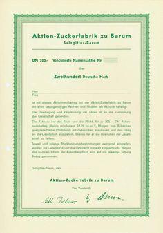 HWPH AG - Historische Wertpapiere - Aktien-Zuckerfabrik zu Barum / Salzgitter-Barum, o. D., Blankett einer vinkulierten Namensaktie über 200 DM