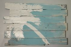 I LOVE THIS!!! DIY???  Beach and Palm Tree Reclaimed Wood Lt Lean 32 x by WoodburyCreek, $60.00