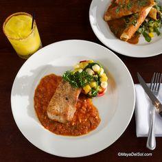 pescado del dia | striped bass, butternut squash, spinach, red bell pepper, campechana sauce