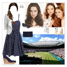 """""""Eleanor and her friends attended the final game between Serena Williams and Garbiñe Muguruza"""" by eleanorrosalie ❤ liked on Polyvore featuring VILA, Stuart Weitzman, Smoke & Mirrors, Marchesa, Links of London, Blue Nile, AERIN and Stila"""