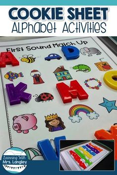 Cookie Sheet Activities are a fun way for toddlers, preschool, kindergarten or first grade students to practice foundational skills. Using these magnetic boards for alphabet practice with alphabet magnets is perfect for centers, small groups, or as an int Alphabet Kindergarten, Kindergarten Centers, Preschool Literacy, Learning The Alphabet, Fun Learning, Learning Spanish, Kindergarten Literacy Activities, Letter Recognition Kindergarten, Teaching Resources