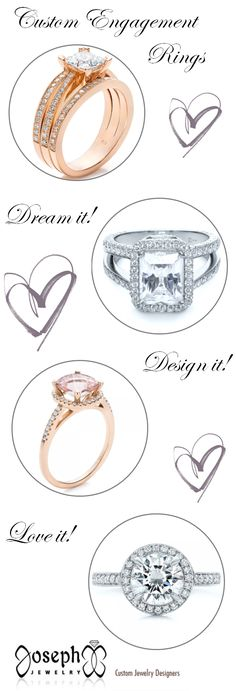 Custom Engagement Rings: Dream it! Design it! Love it! Designing your dream ring is easier than you might think! http://www.theperfectpalette.com/2014/05/sponsored-post-josephs-jewelry.html
