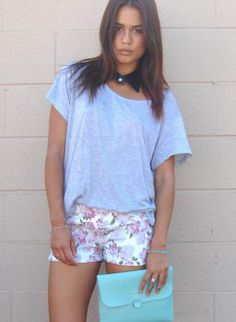 ustrendy, Floral Print Mini Shorts with Low and Elastic Waist,  Bottoms, foral shorts  low waist, Chic