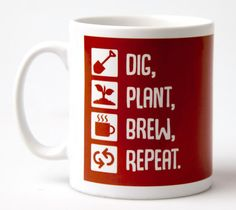 Dig Plant Brew Repeat mug  mug coffee mug garden by janesallotment