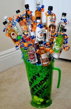 Birthday Booze Bouquet Alcohol Bouquet, Liquor Bouquet, Alcohol Gift Baskets, Alcohol Gifts, Homemade Gifts, Diy Gifts, Raffle Baskets, Theme Baskets, Birthday Basket