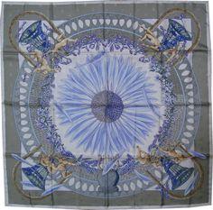 On SALE!!!!  ---  HERMES BEE Silk Scarf Square Foulard Jacquard Scarves Carre Amours Annie Faivre Vintage Cherubs Angels Flowers Bees France