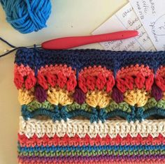 Enough for today. … Enough for today. Looks a little bit like multi coloured thistles? Art Au Crochet, Crochet Motifs, Crochet Borders, Crochet Stitches Patterns, Crochet Squares, Crochet Home, Free Crochet, Knitting Patterns, Knit Crochet