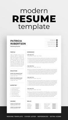 Professional CV template Modern one page resume Word and Mac Pages Visual Resume, Basic Resume, Simple Resume, Resume Tips, Creative Resume, Resume Examples, Unique Resume, Resume Summary, One Page Resume Template