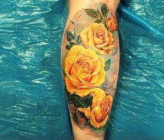 yellow rose tattoos - Google Search