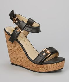 Take a look at the Chase & Chloe Black Rose Ankle-Strap Wedge Sandal on #zulily today!