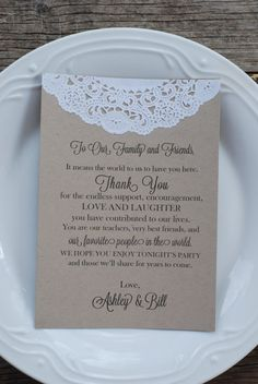 Custom Vintage Lace Doily Wedding Thank You Program by postscripts
