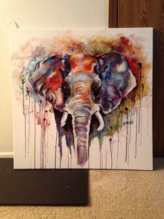 Beautiful colorful acrylic painting elephant by Olga Cuzuioc Sinchevici.