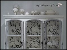 restoring a buffet hutch with wallpaper, painted furniture, repurposing upcycling