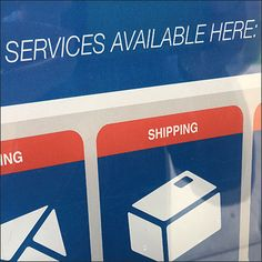 The illustrations in this Services Available Here Pictogram Sign are a good way to communicatelt quickly and often across cultural and language divides United States Postal Service, Pictogram, Close Up, Hooks, Language, The Unit, Illustrations, Signs, History