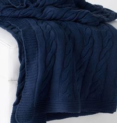 Trending at SKY IRIS! Classic Navy Blue Favorite Cable Knit Sweater Cotton Throw Blanket