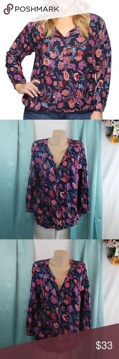 Lucky Floral Print Peasant Top Long Sleeve V-Neck Lucky Brand Trendy Plus Size Floral-Print Navy Multi 1X A tasseled self-tie neck beautifully enhances the allover floral print and cinched cuffs of this very vivid peasant blouse.  FEATURES:  Lightweight blouse features an all-over vintage floral print. Split neckline. Hidden front button closure. Tassel tie hangs down from collar. Long blouson sleeves with button cuffs. Droptail hemline. 100% rayon. Machine wash cold, tumble dry.  Retails…