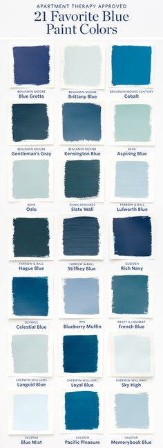 Color Cheat Sheet: The 21 Most Perfect Blue Paint Colors For Your Home — The M. Color Cheat Sheet: The 21 Most Perfect Blue Paint Colors For Your Home — The Modern Palette Best Blue Paint Colors, Paint Colors For Home, House Colors, Color Blue, Blue Wall Colors, Modern Paint Colors, Sky Blue Paint, Bathroom Colors Blue, Office Paint Colors