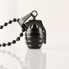 Mens Necklace, Black Hand Grenade pendant, Stainless Steel Pendant Necklace, grenade charm on Etsy, $38.00