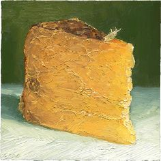 """This is a traditional clothbound cheddar made by Valley Shepherd Creamery in central NJ.  This cheese portrait is 8x8"""" and sold.  Matted, archival prints are available: http://mikegeno.com/cheese%20album/pages/Valley_Thunder_matted_PRINT.htm  © mikegeno.com"""