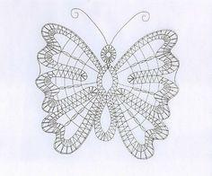 Image - papillon - carton- dentelle-fuseaux - Skyrock.com Bobbin Lace Patterns, Crochet Patterns, Irish Crochet, Crochet Lace, Machine Embroidery Designs, Hand Embroidery, Romanian Lace, Bobbin Lacemaking, Point Lace