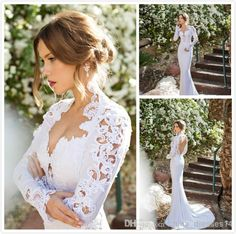 2014 New High Neck Long Sleeve Wedding Dresses Appliques Lace Sexy Open Back Vintage Wedding Gowns For Summer, $168.22   DHgate.com
