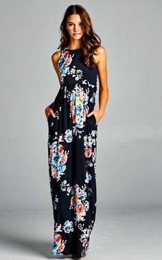 Cathryn Black Floral Maxi Dress PRE-ORDER