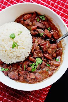Cajun Red Beans and Rice | This was really good, inexspensive, filling, and easy to make! Be careful with the Cajun seasoning, ours is really spicey. My two kids liked it and my bean hating husband is taking it for lunch tomorrow! Score!! I paired it with a skillet made cornbread with Cajun seasoning and some cheese in the batter.