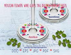 Flowers Wine, Mexican Flowers, Party Items, Eps Vector, Etsy App, Sell On Etsy, Wine Glass, Clip Art, Printable