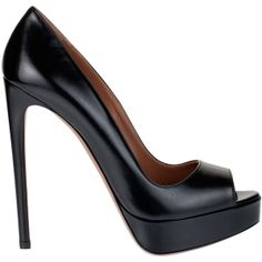 Alaïa Black Leather Peep-Toe Pump ($785) ❤ liked on Polyvore