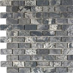 """Epoch Architectural Surfaces 1"""" x 2"""" Slate Mosaic Tile in Ostrich Grey"""