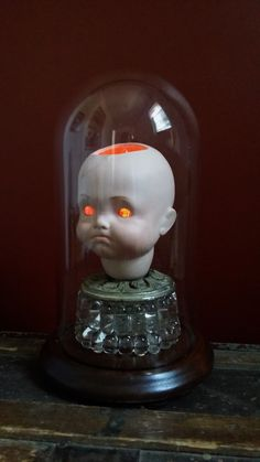 """One-of-a-kind Upcycled Steampunk Creepy Doll Head Bell Dome """"You Would Cry Too If It Happened To You"""" Art Lamp w/Edison Style Light Bulb by UrsMineNours on Etsy https://www.etsy.com/listing/387346244/one-of-a-kind-upcycled-steampunk-creepy"""