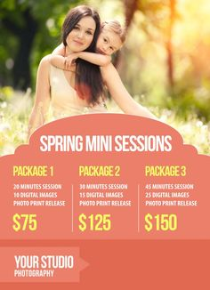 Mini Session Marketing Template Focus on text with bold colour contrast Soft but not too feminine