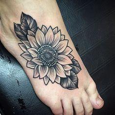 Black and Grey Sunflower Tattoo.