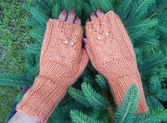 Handknitted Owl Fingerless Mittens Orange Owl by evefashion, £18.00