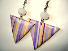 SALE Polymer Clay Jewelry Decoupage Dangle Earrings by OlivesHands, $7.49