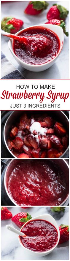 Homemade Strawberry Syrup (Sauce) Delicious and easy to freeze for later. Can be used with Strawberry French Cake. Strawberry Syrup, Healthy Strawberry Recipes, Homemade Strawberry Cake, Strawberry Plant, Strawberry Breakfast, Strawberry Topping, Fruit Recipes, Delicious Desserts, Yummy Food
