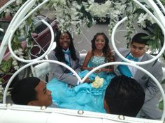 Quinceanera in Norristown Pa. Day started out sunny then the rain came in. We were prepared and put the plastic cover on the Cinderella Carriage