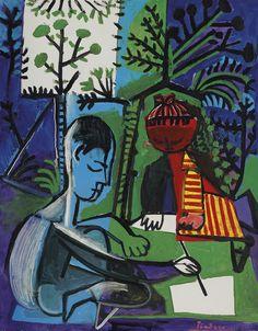 'Claude et Paloma dessinant' (1954) by Pablo Picasso