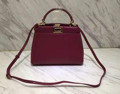 Fendi Peekaboo Burgundy Mini Shoulder Bag
