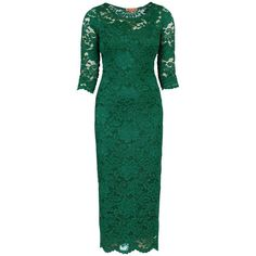 Jolie Moi Scalloped Lace Dress , Dark Green (410 VEF) ❤ liked on Polyvore featuring dresses, dark green, long sleeve dress, lace bodycon dress, 3/4 sleeve dress, lace cami and long lace dress