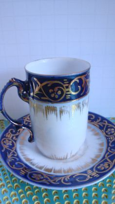 ROYAL THURINGIA GERMANY PORCELAIN COBALT BLUE AND GOLD CHOCOLATE CUP AND SAUCER  #Rococo #ROYALTHURINGA