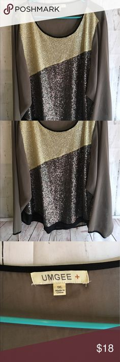 """UMGEE Plus Sequin Ombré Long Sleeve Blouse NWOT This Blouse is so pretty and nice! It is a size 1X and measures 27"""" long 23"""" from armpit to armpit when it is laid flat and 27"""" from shoulder to sleeve. It is 55% Cotton and 45% Polyester. If you need additional measurements please let me know and I will get them to you quickly before purchasing. Umgee Tops Blouses"""