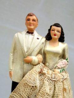 Vintage wedding cake topper bride and groom 1940s Wedding, Vintage Weddings, Wedding Vintage, Wedding Cake Toppers, Wedding Cakes, Budget Wedding, Wedding Ideas, Wedding Art, Wedding Bells