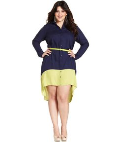 Jessica Simpson Plus Size Dress, Long-Sleeve Colorblocked Shirtdress - Junior Plus Size - Plus Sizes - Macy's