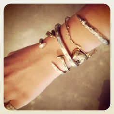 Railroad Spike Cuffs from Giles and Brothers by Phillip Crangi, available now at Elements. Spike Bracelet, Bracelet Watch, Railroad Spikes, Bangles, Bracelets, The Chic, Jewelry Box, Jewellery, Bling