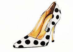 Print of Polka Dot Shoe Fashion Illustration