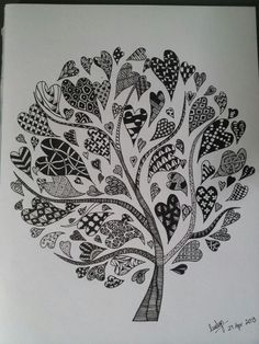 Love the simplicity of this heart/ zentangle tree. Anniversary card/gift