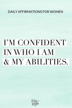 The Best Daily List of Positive Affirmations for Women - Kim and Kalee Affirmations Positives, Affirmations For Women, Daily Positive Affirmations, Positive Mindset, Positive Quotes, Positive Thoughts, Affirmations For Success, Gratitude Quotes, Confidence Tips